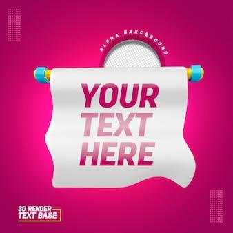 Base 3d pour le texte pour la composition