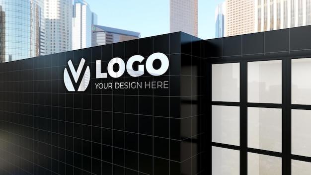 Bâtiment d'entreprise de maquette de logo de signe 3d réaliste