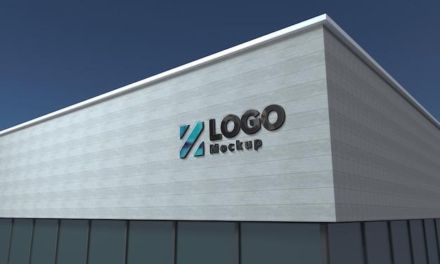 Bâtiment de façade noir de signe 3d de maquette de logo rendu 3d