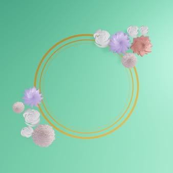 Beau cadre floral en rendu 3d