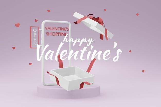 Beau concept de boîte-cadeau happy valentines day dans une maquette de modèle 3d