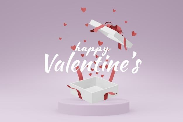 Beau Concept De Boîte-cadeau Happy Valentines Day Dans Une Maquette De Modèle 3d PSD Premium