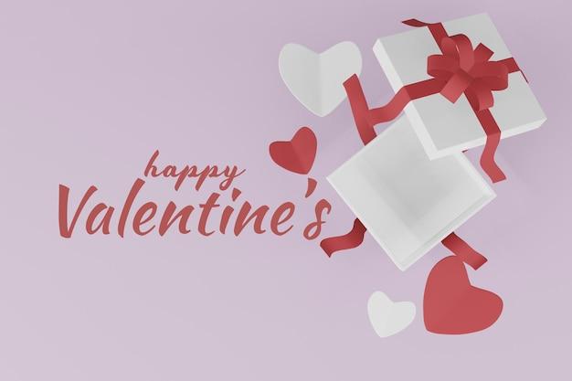 Beau concept de boîte-cadeau happy valentines day en rendu 3d
