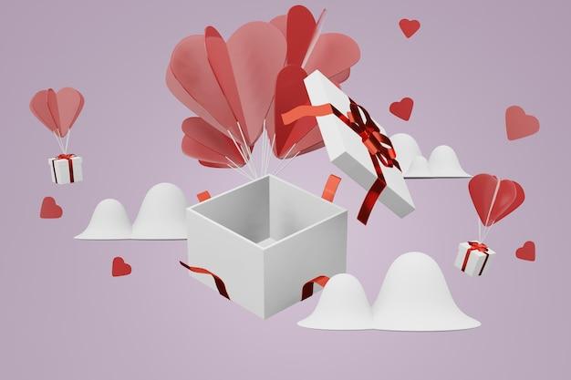 Beau concept de fond de cadeau saint valentin heureux dans une maquette de modèle 3d