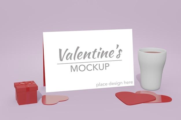 Beau concept de fond happy valentines day dans la maquette de carte modèle 3d