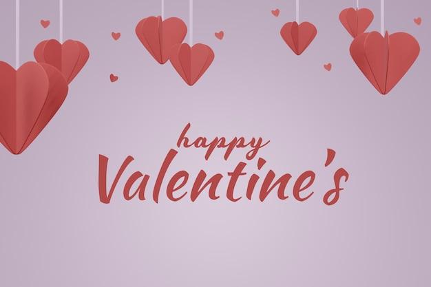 Beau concept de fond maquette happy valentines day dans le rendu 3d