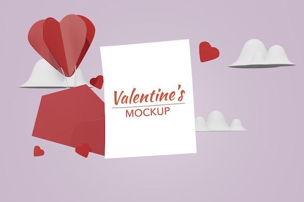 Beau concept de lettre d'amour happy valentines day dans une maquette de modèle 3d
