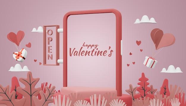 Beau concept de maquette happy valentines day dans le rendu 3d