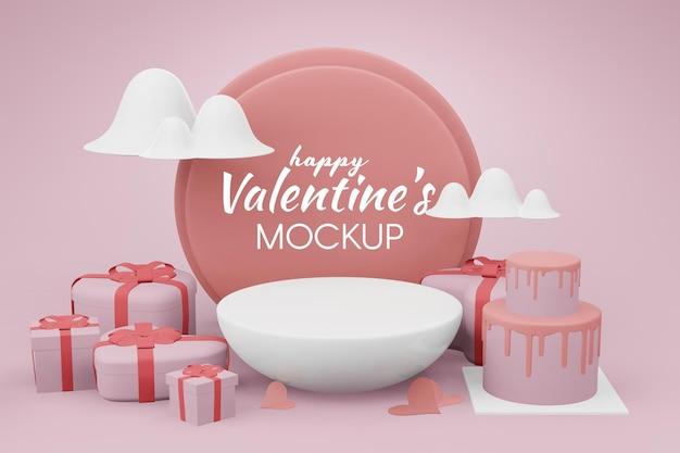 Beau concept de modèle happy valentines day en modèle 3d