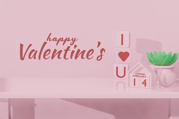 Beau concept de saint valentin heureux dans une maquette de modèle 3d