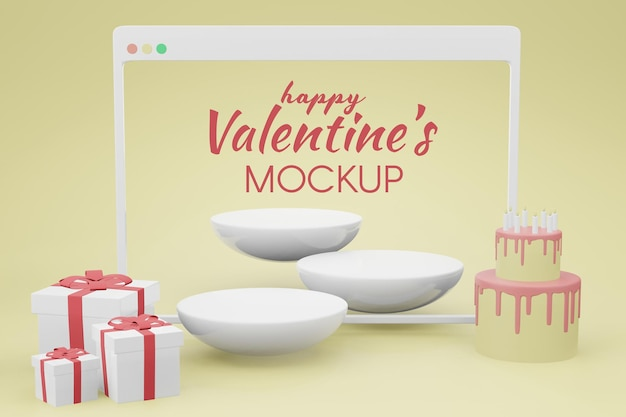 Beau concept de saint valentin heureux dans la maquette de rendu 3d