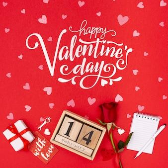 Beau concept de saint valentin avec rose