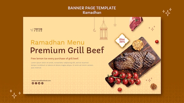 Beau modèle de bannière horizontale ramadan