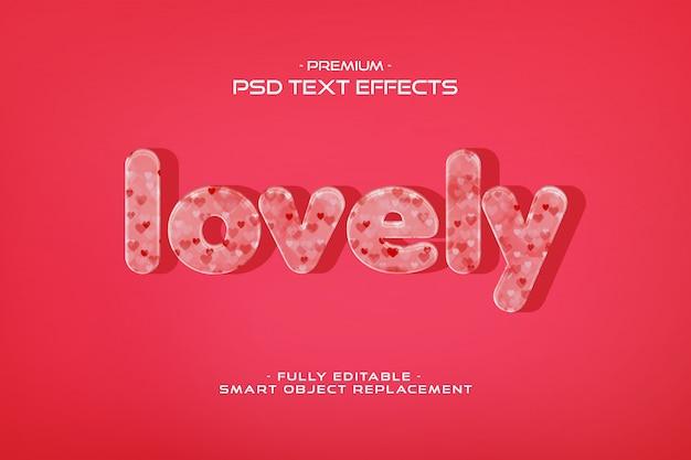 Beau modèle d'effet de texte de la saint-valentin