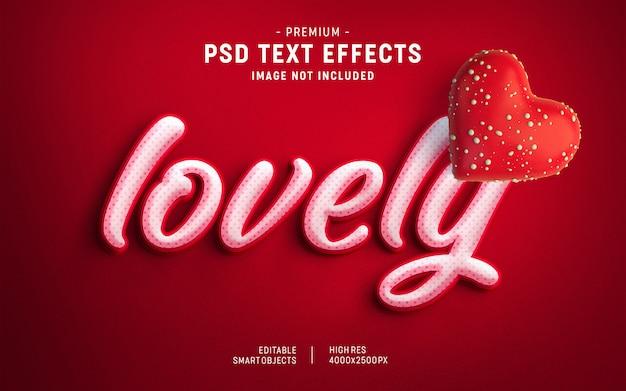 Beau modèle d'effet de texte valentine