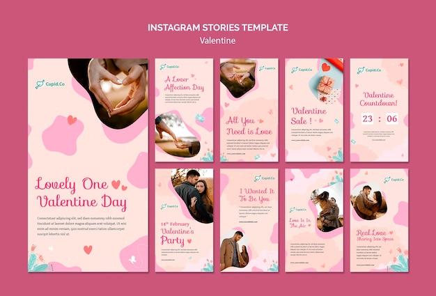 Beau modèle d'histoires instagram pour la saint-valentin
