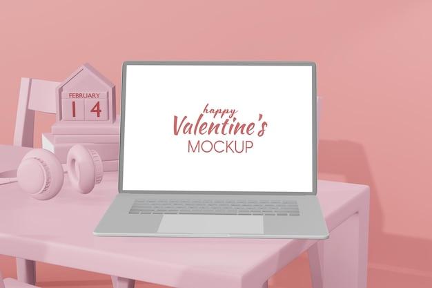 Beau modèle d'ordinateur portable happy valentines day en modèle 3d
