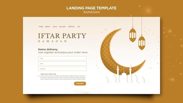 Beau modèle de page de destination du ramadan