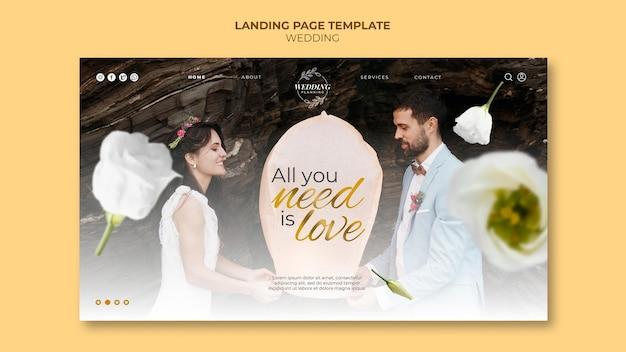 Beau modèle de page de destination de mariage