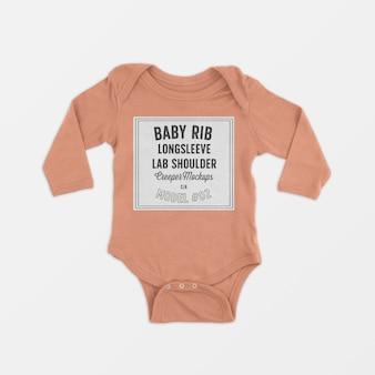 Bébé beignet côtelé à manches longues et aux genoux, maquette 02
