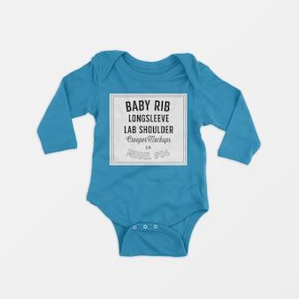 Bébé beignet côtelé à manches longues et aux genoux, maquette 04