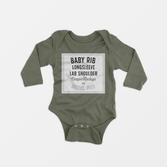 Bébé beignet côtelé à manches longues et aux genoux, maquette 05
