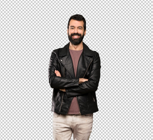 Bel homme à la barbe, gardant les bras croisés en position frontale