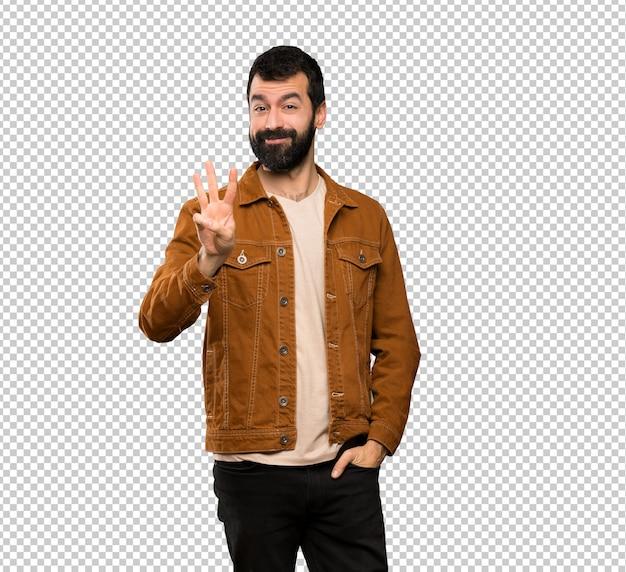 Bel homme à la barbe heureuse et comptant trois avec les doigts