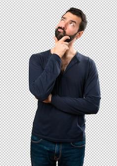 Bel homme, à, barbe, penser