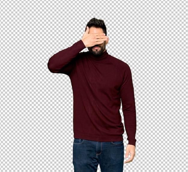 Bel homme avec des lunettes qui couvre les yeux par des mains. je ne veux pas voir quelque chose