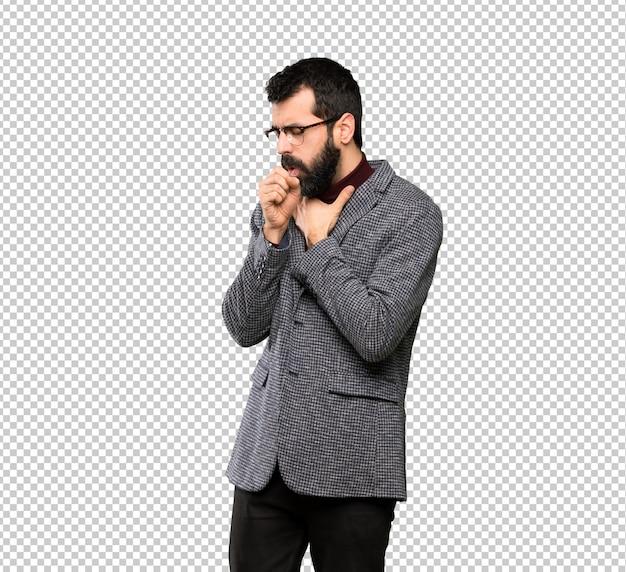 Bel homme avec des lunettes souffre de toux et se sent mal