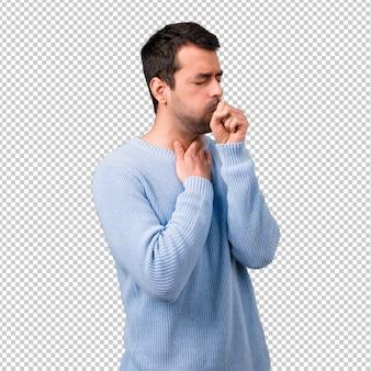 Bel homme souffre de toux et se sent mal