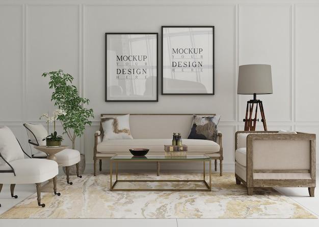 Belle affiche de maquette encadrée dans un salon classique avec canapé
