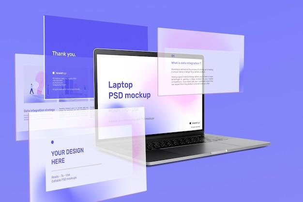 Belle annonce de maquette d'écran d'ordinateur portable avec des diapositives de présentation