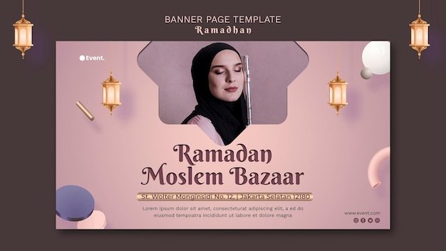 Belle bannière horizontale de ramadan avec photo