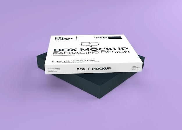 Belle boîte réaliste avec maquette de couvercle ouvert