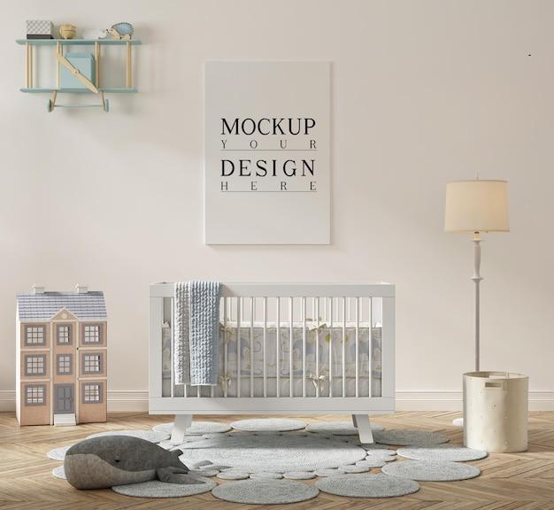 Belle chambre de bébé mignonne avec affiche de maquette
