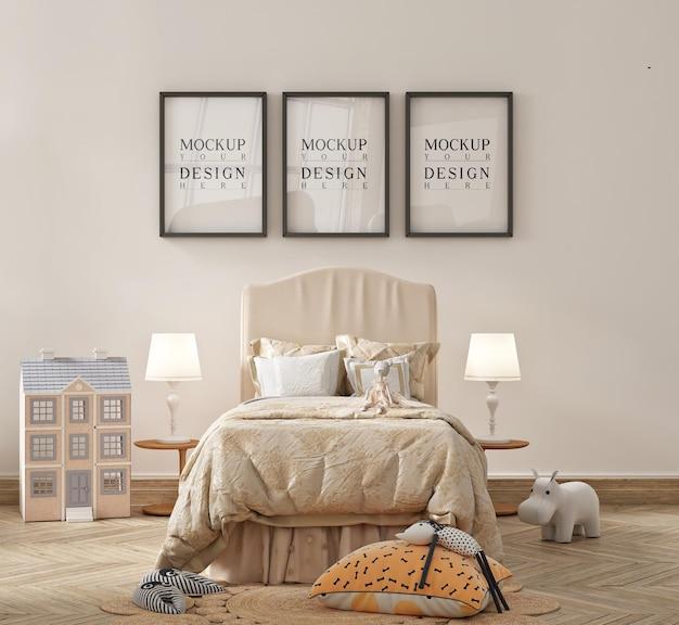 Belle chambre d'enfants moderne avec maquette encadrée d'affiche