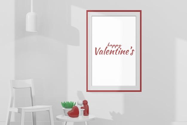 Belle chambre heureuse de la saint-valentin avec maquette de cadre en rendu 3d