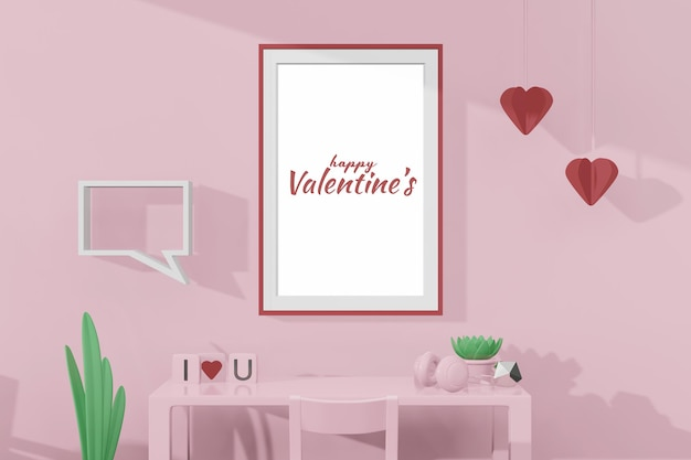 Belle chambre heureuse de saint valentin avec modèle de cadre dans une maquette de modèle 3d
