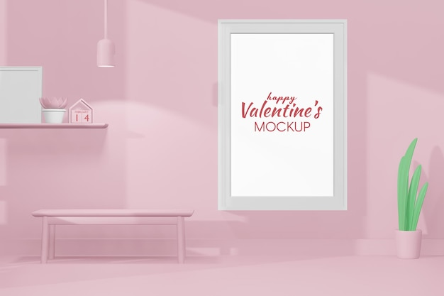 Belle chambre heureuse de saint valentin avec modèle de cadre en modèle 3d