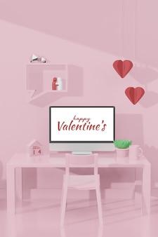 Belle chambre heureuse de la saint-valentin avec modèle d'ordinateur dans une maquette de modèle 3d