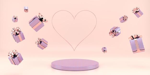 Belle conception de piédestal intérieur de la saint-valentin en rendu 3d