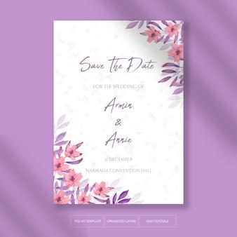 Belle invitation de mariage avec décoration florale rose