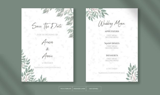 Belle invitation de mariage avec modèle de décoration de feuilles aquarelle