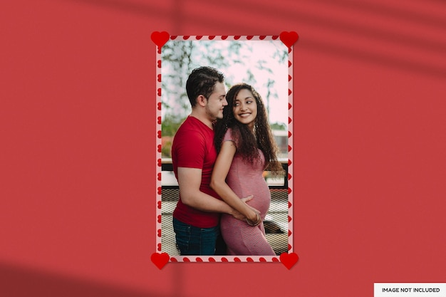 Belle maquette de cadre en papier saint-valentin