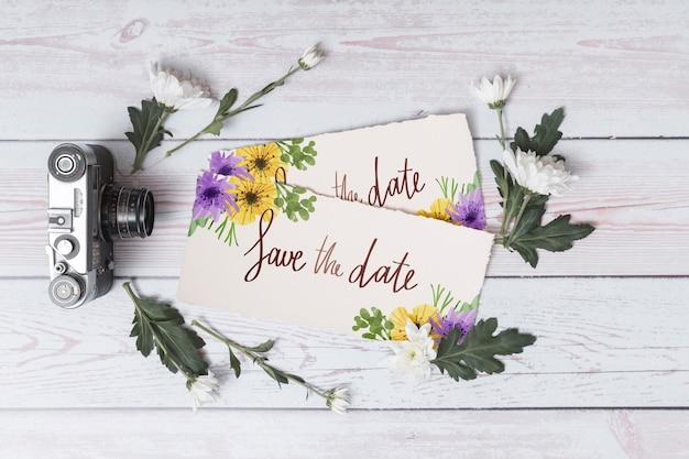 Belle maquette de carte de mariage