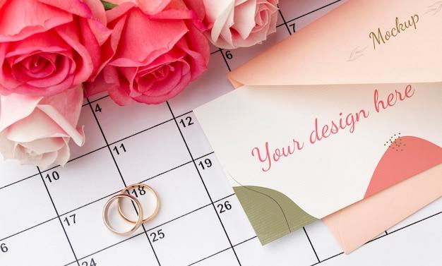 Belle maquette de concept de mariage floral