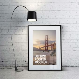 Belle maquette de photo d'affiche de taille us propre