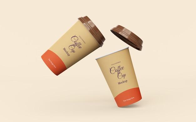 Belle maquette de tasses à café en papier à emporter